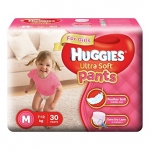 Huggies Ultra Soft  Pants  Medium Size Premium Diapers for Girls (White, 30 Counts)