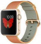 Apple Watch 38 mm Gold Aluminium Case with Gold / Red Woven Nylon  (Red Strap Medium)