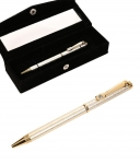 Jewel Fuel Swarovski Studded Silver Pen With Velvet Gift Box By Jewel Fuel
