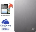 Seagate Backup Plus Slim 2 TB Wired External Hard Drive with 200 GB Cloud Storage (Silver, Mobile Backup Enabled)